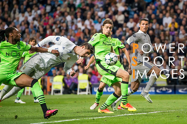 Alvaro Morata of Real Madrid in action as teammate Cristiano Ronaldo looks on during their 2016-17 UEFA Champions League match between Real Madrid vs Sporting Portugal at the Santiago Bernabeu Stadium on 14 September 2016 in Madrid, Spain. Photo by Diego Gonzalez Souto / Power Sport Images
