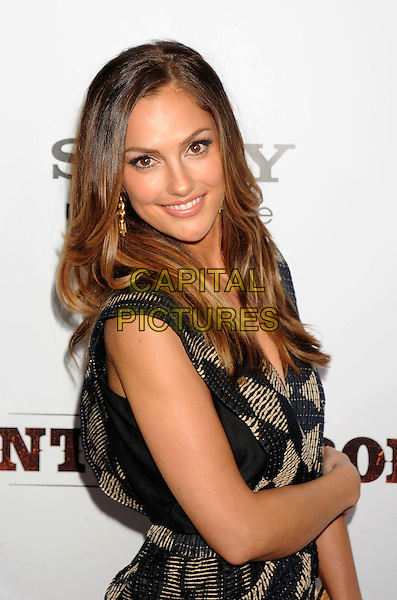 "MINKA KELLY.""Country Strong"" Los Angeles Special Screening held at The Academy of Motion Picture Arts & Sciences, Beverly Hills, California, USA..December 14th, 2010.half length black beige sleeveless dress wrap print beige side.CAP/ROT/TM.©Tony Michaels/Roth Stock/Capital Pictures"