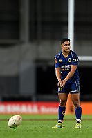 Josh Ioane lines up a kick for goal during the 2018 Mitre 10 Cup Championship rugby semifinal between Canterbury and Counties Manukau at Forsyth Barr Stadium in Dunedin, New Zealand on Saturday, 20 October 2018. Photo: Joe Allison / lintottphoto.co.nz