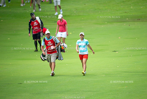 Mika Miyazato (JPN),.MARCH 3, 2013 - Golf :.Mika Miyazato of Japan walks with her caddie during the final round of the the HSBC Women's Champions golf tournament at Sentosa Golf Club in Singapore. (Photo by Haruhiko Otsuka/AFLO)