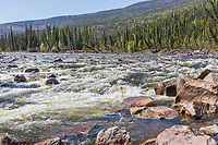 Packraft in the whitewater rapids on the Charley River in the Yukon Charley Rivers Nationap Preserve.