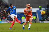 Gareth Evans of Portsmouth left has a shot on goal under pressure from Jay Spearing of Blackpool during Portsmouth vs Blackpool, Sky Bet EFL League 1 Football at Fratton Park on 12th January 2019