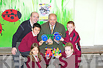 CAR OF THE FUTURE: Gerard Fitzgerald, Matae Bogdanivich, John Fok-Seang and Lorna Moriarty, Pupils from Moyderwell National School, Tralee who are taking part in the Kellihers 'Design & Build your own Car' competition pictured here on Wednesday with Tom O'Connor (Kellihers Garage) and teacher Denis Griffin.   Copyright Kerry's Eye 2008