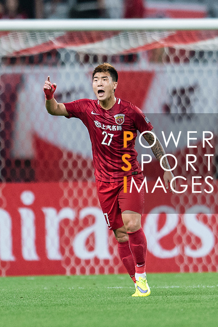 Shanghai FC Defender Shi Ke reacts during the AFC Champions League 2017 Round of 16 match between Shanghai SIPG FC (CHN) vs Jiangsu FC (CHN) at the Shanghai Stadium on 24 May 2017 in Shanghai, China. Photo by Marcio Rodrigo Machado / Power Sport Images