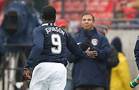 Eddie Johnson celebrates his goal as Bruce Arena claps in the background at Pizza Hut Park in Frisco, Texas, Sunday, Feb. 19, 2005.  USA won 4-0.