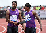 Tyson Gay of the USA (L) is congratulated by Michael Rodgers of the USA (R) after Gay won the Men's 100 meters on the final day of the Prefontaine Classic at Hayward Field in Eugene, Oregon, USA, 30 MAY 2015. (EPA photo by Steve Dykes)