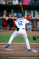 Niko Hulsizer (12) of the Ogden Raptors bats against the Billings Mustangs at Lindquist Field on August 18, 2018 in Ogden, Utah. Billings defeated Ogden 6-4. (Stephen Smith/Four Seam Images)