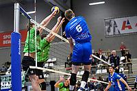 GRONINGEN - Volleybal, Abiant Lycurgus - SSS, Alfa College , Eredivisie , seizoen 2017-2018, 02-12-2017 Lycurgus speler Trifon Lapkov slaat de bla hard langs het blok