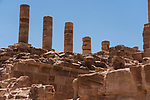 Stone columns of the Great Temple in the ruins of the Nabataean city of Petra in the Hashemite Kingdom of Jordan.  Petra Archeological Park is a Jordanian National Park and a UNESCO World Heritage Site.