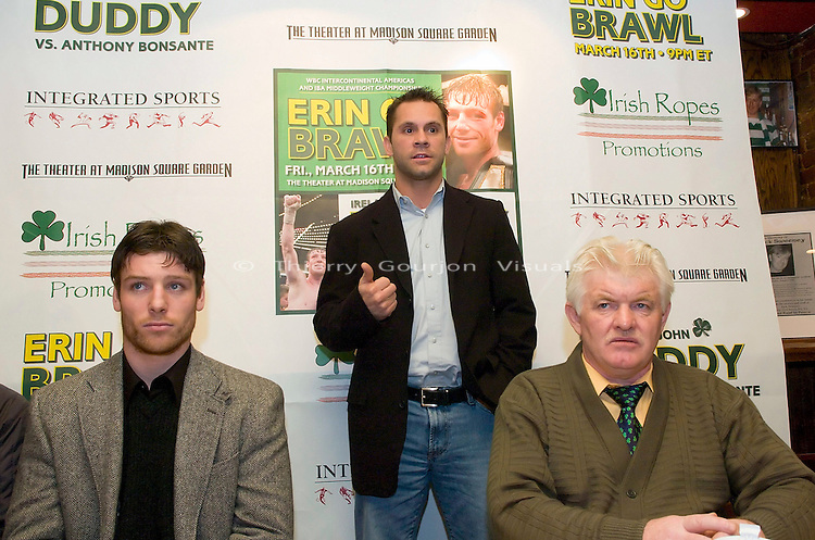 Anthony Bonsante (c) addresses the crowd at the press conference to announce his upcoming March 16, 2007 IBA World & WBC Continental Americas Middleweight Championship against John Duddy. The  press conference was held at Jack Dempsey's  in New York on 01. 24. 2007.