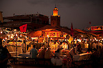 Food Stalls at Djemaa el-Fna, main square, Marrakesh, Morocco, market, night