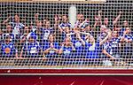 Eskilstuna 2014-05-15 Handboll SM-semifinal Eskilstuna Guif - Alings&aring;s HK :  <br /> Alings&aring;s supportrar p&aring; ena kortsidan bakom ett n&auml;t i Sporthallen i Eskilstuna <br /> (Foto: Kenta J&ouml;nsson) Nyckelord:  Eskilstuna Guif Sporthallen Alings&aring;s AHK SM Semifinal Semi supporter fans publik supporters