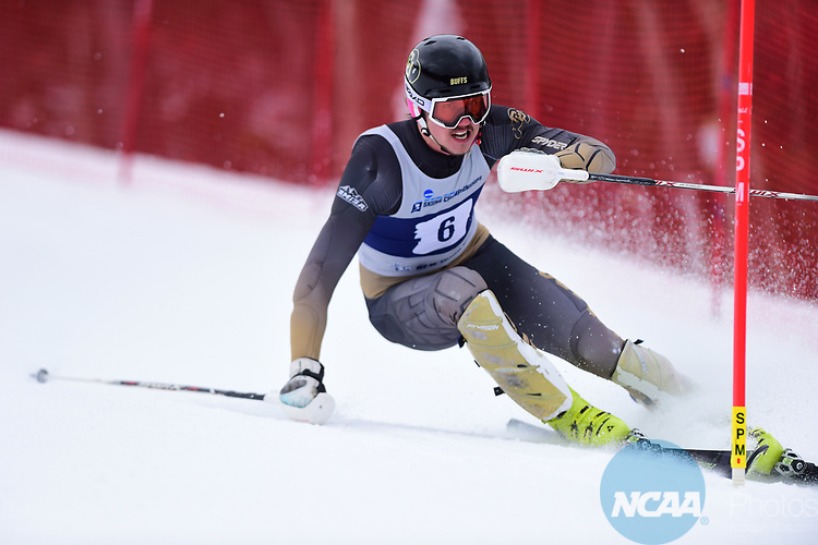 FRANCONIA, NH - MARCH 10:   Max Luukko of the University of Colorado competes during the Men's Slalom event at the Division I Men's and Women's Skiing Championships held at Cannon Mountain on March 10, 2017 in Franconia, New Hampshire. (Photo by Gil Talbot/NCAA Photos via Getty Images)