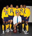 Cast: Lamar Cheston - Jeantique Oriol - Layon Gray - Delano Barbosa - Thaddeus Daniels - front: Melvin  - missing Ade Otukoya star in Layon Gray's Kings of Harlem - a story about the Harlem Rens who were one of the dominant basketball teams of the 1920's and 1930's - had a special show on September 15, 2015 at St. Luke's Theatre, New York City, New York. The play stars Melvin Huffnagle, Thaddeus Daniels, Ade Otukoya, Lamar Cheston, Delano Barbosa, Jeantique Oriol and Layon Gray.  (Photo by Sue Coflin/Max Photos)