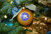 "The 2017 White House Christmas decorations, with the theme ""Time-Honored Traditions,"" which were personally selected by first lady Melania Trump, are previewed for the press in Washington, DC on Monday, November 27, 2017.  This is the State of New York ornament on the White House Christmas tree in the Blue Room.<br /> Credit: Ron Sachs / CNP"