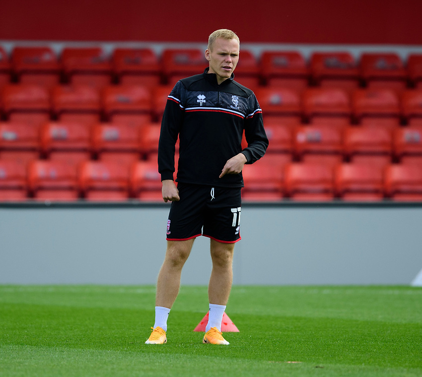 Lincoln City's Anthony Scully during the pre-match warm-up<br /> <br /> Photographer Andrew Vaughan/CameraSport<br /> <br /> The EFL Sky Bet League One - Saturday 12th September  2020 - Lincoln City v Oxford United - LNER Stadium - Lincoln<br /> <br /> World Copyright © 2020 CameraSport. All rights reserved. 43 Linden Ave. Countesthorpe. Leicester. England. LE8 5PG - Tel: +44 (0) 116 277 4147 - admin@camerasport.com - www.camerasport.com - Lincoln City v Oxford United