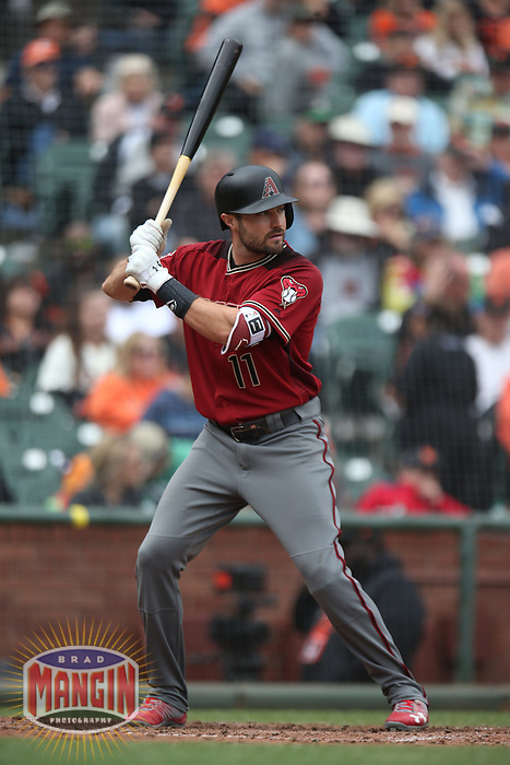 SAN FRANCISCO, CA - APRIL 11:  A.J. Pollock #11 of the Arizona Diamondbacks bats against the San Francisco Giants during the game at AT&T Park on Wednesday, April 11, 2018 in San Francisco, California. (Photo by Brad Mangin)