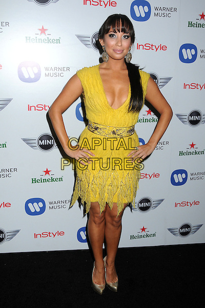 Cheryl Burke.Warner Music Group 2013 Grammy Celebration held at The Chateau Marmont, West Hollywood, California, USA..February 10th, 2013.full length yellow dress low cut neckline cleavage hands on hips lace gold shoes .CAP/ADM/BP.©Byron Purvis/AdMedia/Capital Pictures.