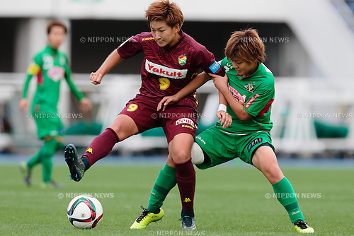 (L to R) <br /> Yuika Sugasawa (JEF Ladies), <br /> Tomoko Muramatsu (Beleza), <br /> OCTOBER 31, 2015 - Football / Soccer : <br /> Plenus Nadeshiko League 2015 <br /> between NTV Beleza 2-0 Jef Chiba Ladies <br /> at Komazawa Olympic Park Stadium, Tokyo, Japan. <br /> (Photo by AFLO SPORT)