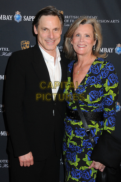 NICHOLAS GUEST & PAMELA GUEST.17th Annual BAFTA Los Angeles Awards Season Tea Party held at the Four Seasons Hotel, Beverly Hills, California, USA, 15th January 2011..half length black suit white shirt blue green dress print floral wrap .CAP/ADM/BP.©Byron Purvis/AdMedia/Capital Pictures.