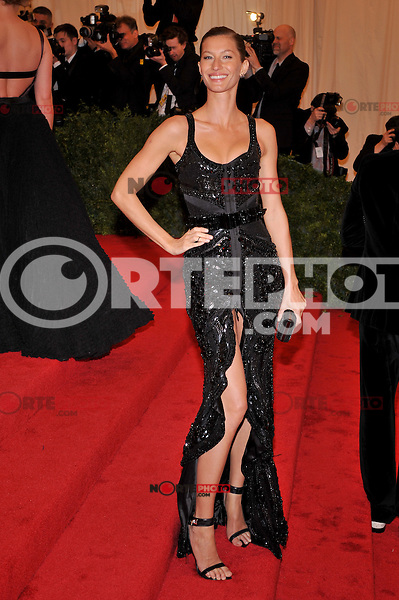 Gisele Bundchen at the 'Schiaparelli And Prada: Impossible Conversations' Costume Institute Gala at the Metropolitan Museum of Art on May 7, 2012 in New York City. ©mpi03/MediaPunch Inc.