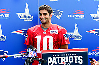 July 28, 2017: New England Patriots quarterback Jimmy Garoppolo (10) talks to reporters at the New England Patriots training camp held at Gillette Stadium, in Foxborough, Massachusetts. Eric Canha/CSM