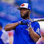 26 March 2018: Toronto Blue Jays outfielder Roemon Fields awaits his turn in the batting cage prior to an exhibition game against the St. Louis Cardinals at Olympic Stadium in Montreal, Quebec, Canada. The Cardinals defeated the Blue Jays 5-3 in the first of two MLB pre-season games in the former home of the Montreal Expos. Mandatory Credit: Ed Wolfstein Photo *** RAW (NEF) Image File Available ***