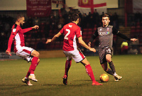 Lincoln City's Harry Toffolo vies for possession with Crewe Alexandra's Jordan Bowery, left, and Perry Ng<br /> <br /> Photographer Andrew Vaughan/CameraSport<br /> <br /> The EFL Sky Bet League Two - Crewe Alexandra v Lincoln City - Wednesday 26th December 2018 - Alexandra Stadium - Crewe<br /> <br /> World Copyright &copy; 2018 CameraSport. All rights reserved. 43 Linden Ave. Countesthorpe. Leicester. England. LE8 5PG - Tel: +44 (0) 116 277 4147 - admin@camerasport.com - www.camerasport.com