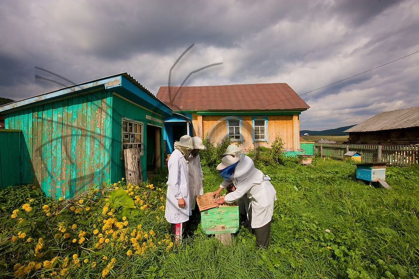 Rafic Yumaguzhin, surrounded by his students, opens a hive at the apiary of the secondary school of Gadel-Gareyero. The Bashkirs esteem courage and know-how. They are quite conservative and look down on cupidity.
