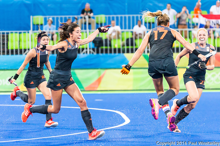 Celebration by Maartje Paumen #17 of Netherlands, Naomi van As #18 of Netherlands during Netherlands vs Great Britain in the gold medal final at the Rio 2016 Olympics at the Olympic Hockey Centre in Rio de Janeiro, Brazil.