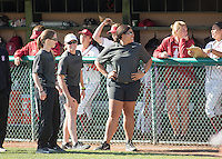 STANFORD, CA - February 20, 2016: Nike Invitational, Stanford Softball vs Long Beach State at Boyd and Jill Smyth Family Stadium on the campus of Stanford University.