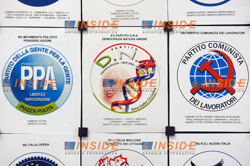 Il simbolo della lista di Cicciolina DNA.Roma 11/01/2013 Depositati al Viminale i simboli per le prossime elezioni..Photo Samantha Zucchi Insidefoto