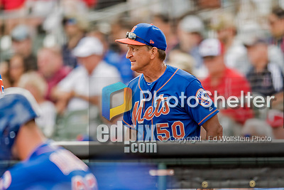 28 February 2019: New York Mets Bench Coach Jim Riggleman looks out from the dugout at the start of a Spring Training game against the St. Louis Cardinals at Roger Dean Stadium in Jupiter, Florida. The Mets defeated the Cardinals 3-2 in Grapefruit League play. Mandatory Credit: Ed Wolfstein Photo *** RAW (NEF) Image File Available ***