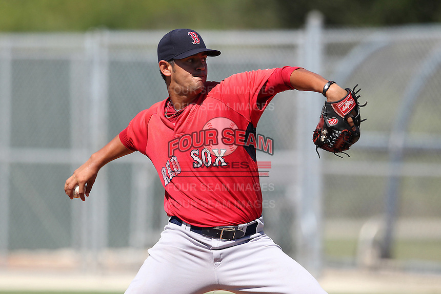 Boston Red Sox pitcher Jason Garcia #67 during an intrasquad Instructional League game at Red Sox Minor League Training Complex in Fort Myers, Florida;  October 4, 2011.  (Mike Janes/Four Seam Images)