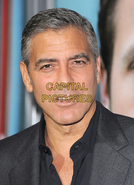 George Clooney.The L.A. Premiere of 'The Ides of March' held at The Academy of Motion Picture Arts & Sciences  in Beverly Hills, California, USA..September 27th, 2011.headshot portrait black grey gray shirt mouth open  .CAP/RKE/DVS.©DVS/RockinExposures/Capital Pictures.