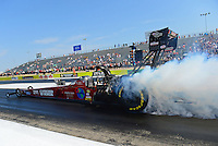 Sept. 21, 2012; Ennis, TX, USA: NHRA top fuel dragster driver Scott Palmer during qualifying for the Fall Nationals at the Texas Motorplex. Mandatory Credit: Mark J. Rebilas-