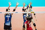 Middle blocker Nana Iwasaka (L) of Japan and Wing spiker Mami Uchiseto (R) of Japan blocks during the FIVB Volleyball World Grand Prix - Hong Kong 2017 match between Japan and Russia on 23 July 2017, in Hong Kong, China. Photo by Yu Chun Christopher Wong / Power Sport Images