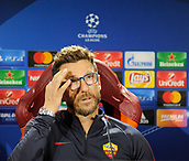 September 11th 2017, Trigoria, Rome, Italy, AS Roma press conferenc ebefore their Champions league match against Atletico Madrid on Sptember 12th in Rome; Coach Eusebio Di Francesco