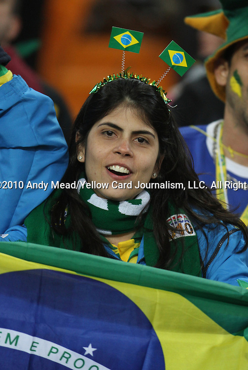 20 JUN 2010: Brazil fan. The Brazil National Team played the C'ote d'Ivoire National Team at Soccer City Stadium in Johannesburg, South Africa in a 2010 FIFA World Cup Group G match.