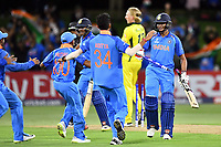 Indian players rush in to congragulate the centurion Manjot Kalra after India's victory over Australia during the ICC U-19 Cricket World Cup 2018 Finals between India v Australia, Bay Oval, Tauranga, Saturday 03rd February 2018. Copyright Photo: Raghavan Venugopal / © www.Photosport.nz 2018 © SWpix.com (t/a Photography Hub Ltd)