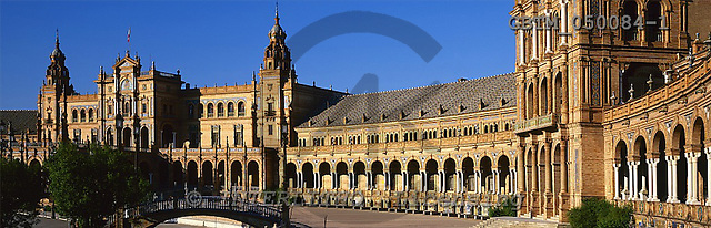 Tom Mackie, LANDSCAPES, panoramic, photos, Plaza de Espana, Seville, Andalusia, Spain, GBTM050084-1,#L#
