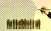 Hand drawing wire fence trapping crowd of people