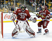 Kyle Richter (Harvard - 33), Alex Biega (Harvard - 3) - The Boston College Eagles defeated the Harvard University Crimson 6-0 on Monday, February 1, 2010, in the first round of the 2010 Beanpot at the TD Garden in Boston, Massachusetts.