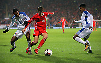(L-R) Leslie Heraldez of Panama against David Brooks of Wales during the international friendly soccer match between Wales and Panama at Cardiff City Stadium, Cardiff, Wales, UK. Tuesday 14 November 2017.