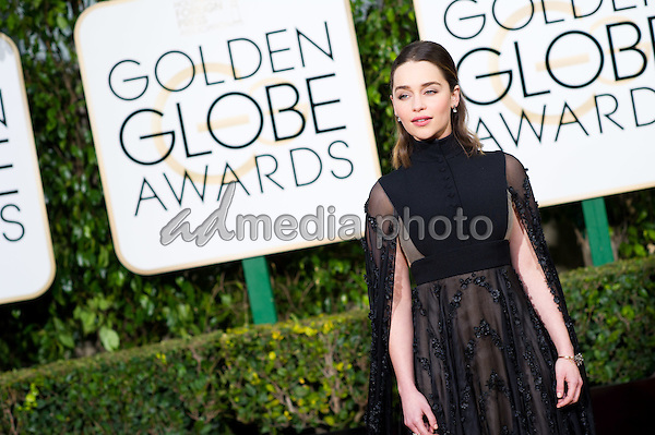 Emilia Clarke, actress, arrives at the 73rd Annual Golden Globe Awards at the Beverly Hilton in Beverly Hills, CA on Sunday, January 10, 2016. Photo Credit: HFPA/AdMedia