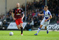 Blackburn Rovers' Charlie Mulgrew vies for possession with Bristol Rovers' Ollie Clarke<br /> <br /> Photographer Ashley Crowden/CameraSport<br /> <br /> The EFL Sky Bet League One - Bristol Rovers v Blackburn Rovers - Saturday 14th April 2018 - Memorial Stadium - Bristol<br /> <br /> World Copyright &copy; 2018 CameraSport. All rights reserved. 43 Linden Ave. Countesthorpe. Leicester. England. LE8 5PG - Tel: +44 (0) 116 277 4147 - admin@camerasport.com - www.camerasport.com