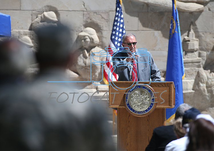 Keynote Speaker Dr. Tyrus Cobb speaks the 2016 Flag Day & Army Birthday ceremony at the Capitol in Carson City, Nev., on Tuesday, June 14, 2016.<br />