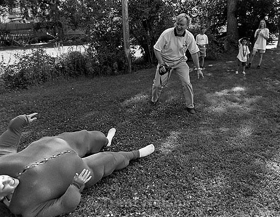 ? Caldwell on ground during balloon suit game, Marshall Wilde at Robinson Reunion.<br />