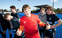 King's High School celebrate winning the Rankin Cup final between King's High School and Timaru Boys High at the Rankin Cup and India Shield 2019 Secondary School Hockey Tournament, Nga Puna Wai Sports Hub, Christchurch, Saturday 07 September 2019. Photo: Martin Hunter/Hockey NZ