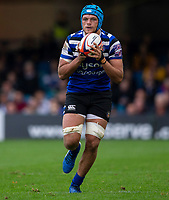 Bath Rugby's Zach Mercer<br /> <br /> Photographer Bob Bradford/CameraSport<br /> <br /> Premiership Rugby Cup Round Three - Bath Rugby v Leicester Tigers - Saturday 5th October 2019 - The Recreation Ground - Bath<br /> <br /> World Copyright © 2018 CameraSport. All rights reserved. 43 Linden Ave. Countesthorpe. Leicester. England. LE8 5PG - Tel: +44 (0) 116 277 4147 - admin@camerasport.com - www.camerasport.com